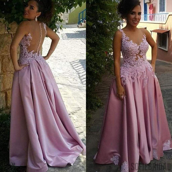 Long A-line Sexy See Through Lace Satin Prom Dresses, PD0239