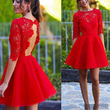 Scoop Red Lace Half Sleeve Open Back Tulle Homecoming Dresses, SF0053