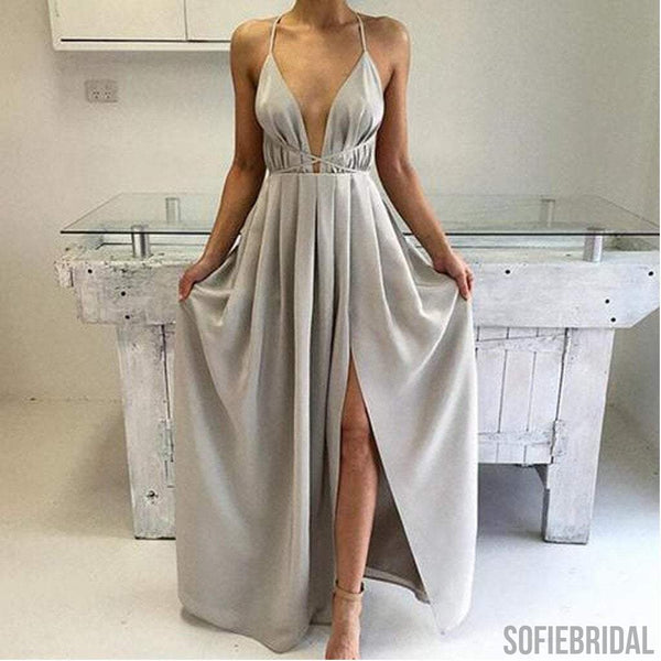 Sexy Halter Light Gray Deep V-Neck Side Slit Satin Prom Dresses, PD0567