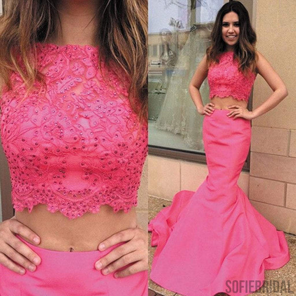 Two Pieces Hot Pink Lace Top Long Mermaid Beaded Prom Dresses, PD0240