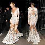 Candice Swanepoel Celebrity Inspired See Through Deep V-neck Long Sleeve Mermaid Lace Prom Dresses, PD0522