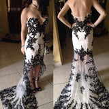 Hi-low Sweetheart White Tulle Black Lace Backless Prom Dresses, PD0241