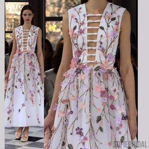 Celebrity Inspired Gorgeous Colorful Appliques Sleeveless Long Prom Dresses, PD0523