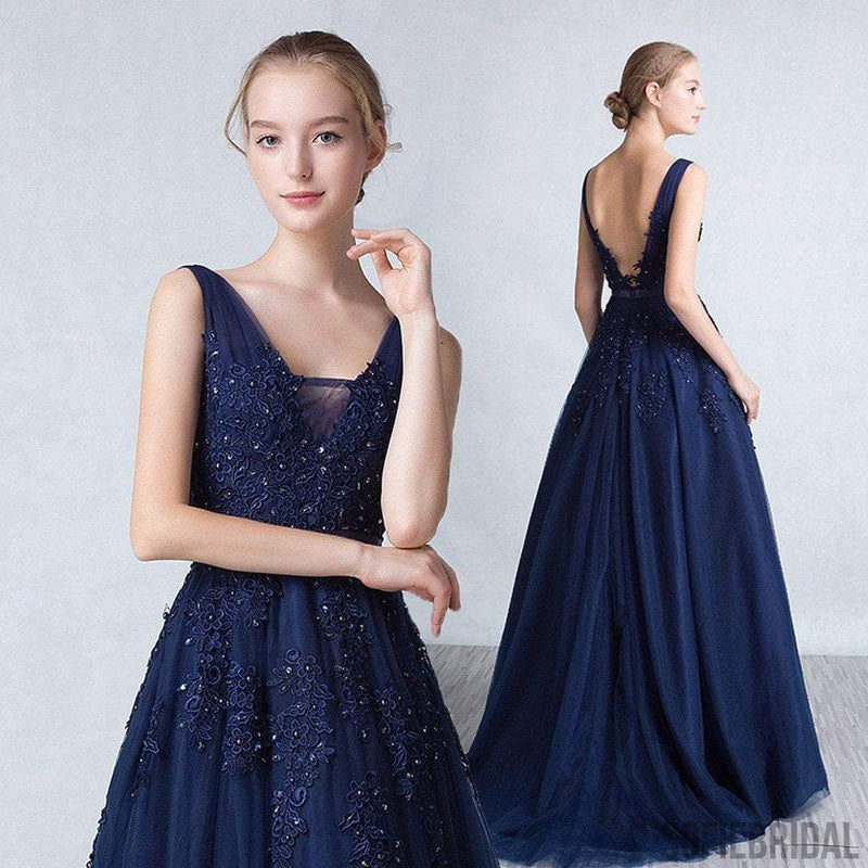 Navy Blue Tulle Appliques Beaded Long A-line V-back Prom Dresses, PD0242
