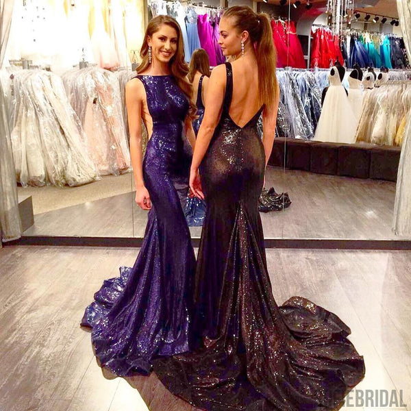 Gorgeous Sexy Scoop Neckline Backless Long Mermaid Sequin Prom Dresses, PD0243