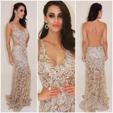 Gorgeous V-Neck See Through Beaded Sexy Long Mermaid Prom Dresses, PD0532