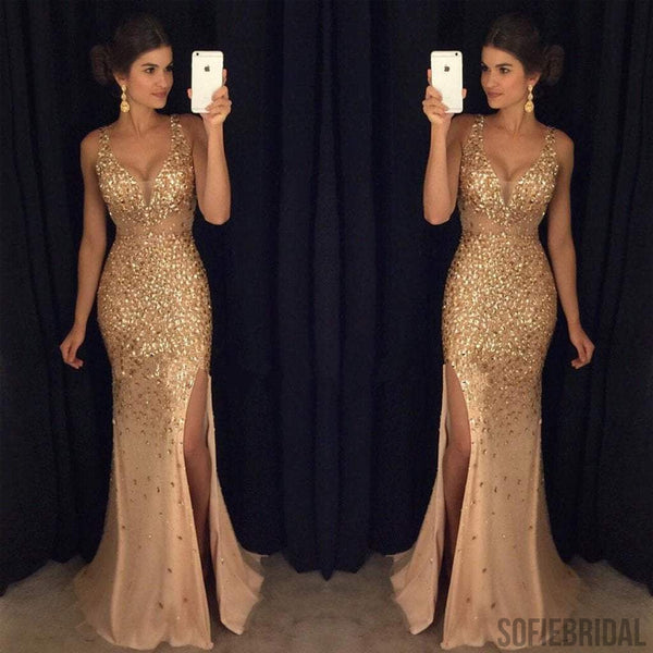 Gold Rhinestone Sparkle Sexy Side Slit Long Mermaid Prom Dresses, PD0245