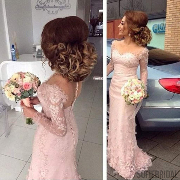 New Arrival Long Sleeve Pale Pink Lace Appliques Mermaid Bridesmaid Dresses, PD0246