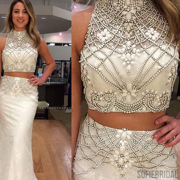 Newest Two Pieces White Rhinestone Beaded Long Mermaid Prom Dresses, PD0247