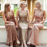 Popular Mismatched Long Sheath Sequin Bridesmaid Dresses For Wedding, PD0247