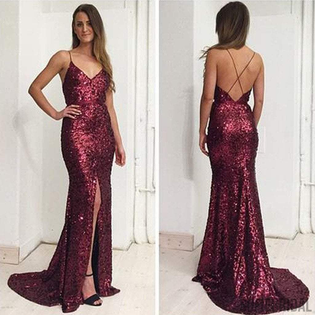 Sexy Spaghetti V-neck Maroon Sequin Front Slit Long Mermaid Prom Dresses, PD0569