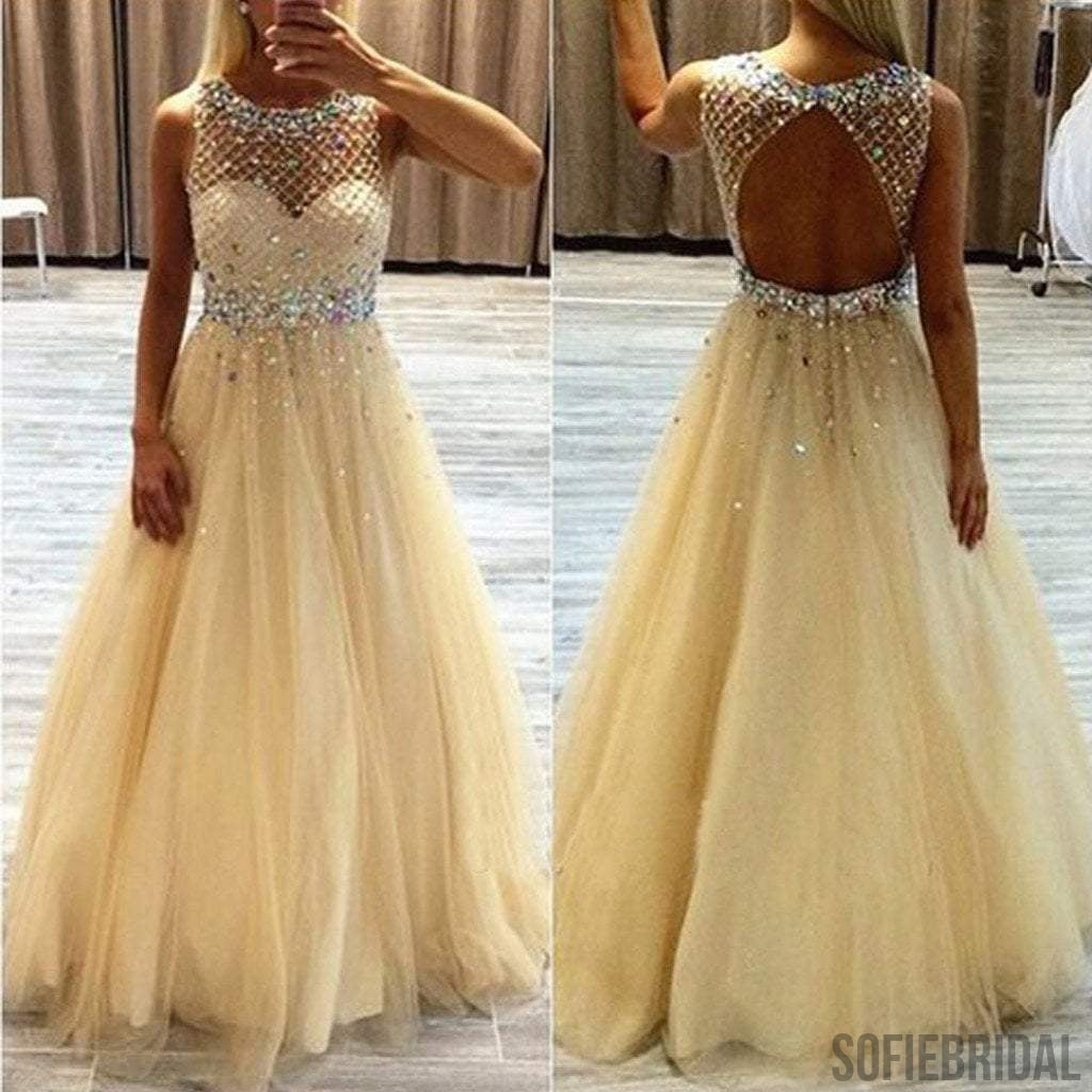 Scoop Neckline Long A-line Rhinestone Beige Tulle Prom Dresses, PD0223