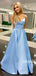 Simple V-neck A-line Satin Long Prom Dresses Online,SFPD0105