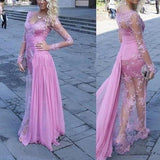Gorgeous See Through Long Sleeve Long Sheath Sexy Lace Tulle Prom Dresses, PD0531