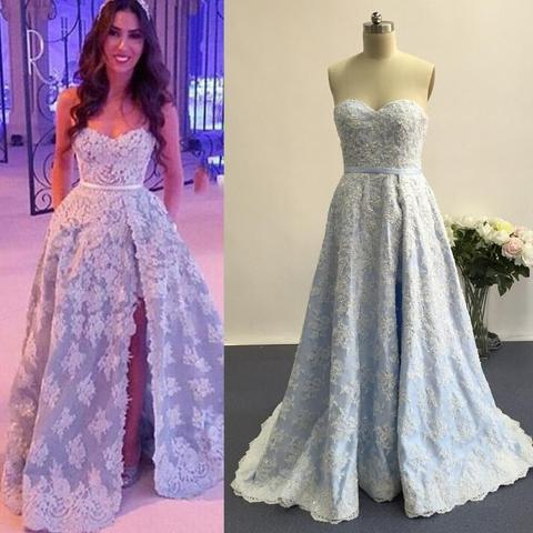 Sweetheart Pretty White Lace Long A-line Side Slit Light Blue Prom Dresses, PD0578