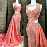 Coral Lace Beaded See Through Long A-line Satin Long Prom Dresses, PD0524