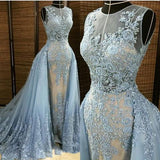 Round Neck See Through Blue Lace Beaded Gorgeous Tulle Prom Dresses, PD0554