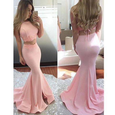 Two Pieces Simple Design Pink Satin Long Mermaid Prom Dresses, PD0588