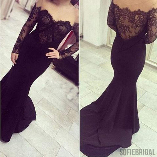 Sexy Off Shoulder See Through Black Lace Long Sleeve Long Mermaid Jersey Prom Dresses, PD0568