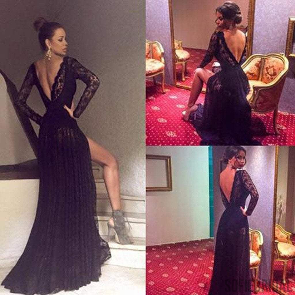Sexy V-Back Long Sleeve See Through Black Lace Tulle Side Slit Prom Dresses, PD0570