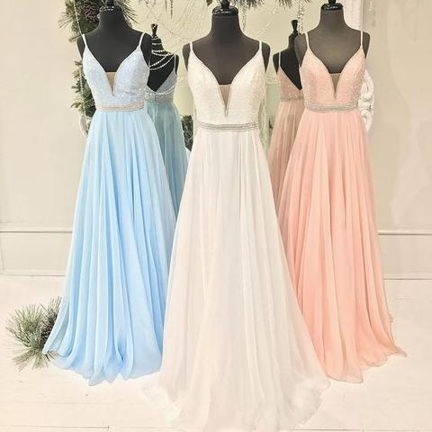 Spaghetti Beaded Long A-line Chiffon V-neck Popular Prom Dresses, PD0271