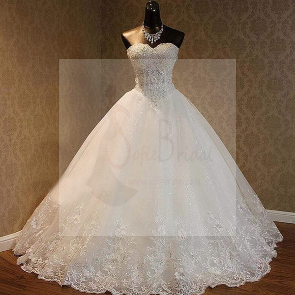 Luxury Sweetheart Rhinestone Beaded White Lace Wedding Dresses, Tulle Bridal Gown, WD0025