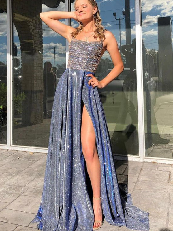 Simple A-line Satin Long Prom Dresses,SFPD0098