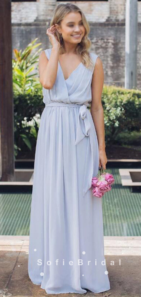 A-Line V-Neck Sleeveless Chiffon Pleats Long Bridesmaid Dresses With Belt,SFWG0026