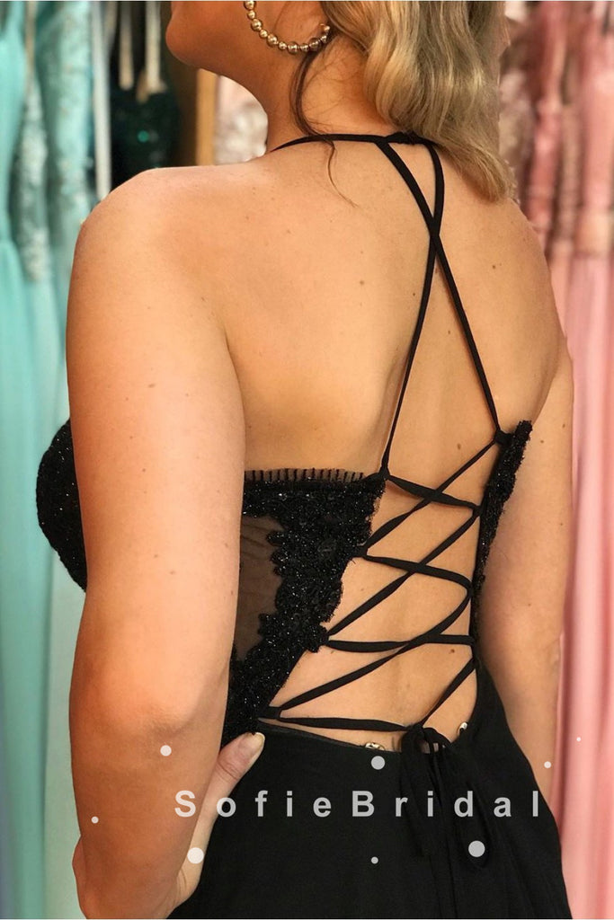 A-Line Halter Sleeveless Black Split Side Long Prom Dresses With Lace,SFPD0026