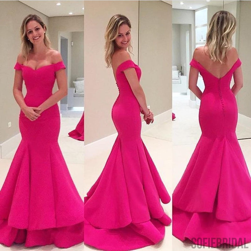 Off Shoulder Hot Pink Soft Satin Long Mermaid Elegant Formal Prom ...