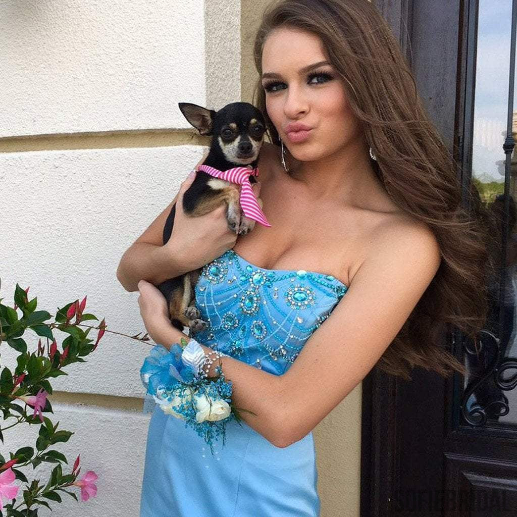 Sweetheart Blue Satin Tulle Rhinestone Beaded Long Mermaid Popular Prom Dresses, PD0264