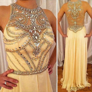 Luxury Illusion Rhinestone Beaded Long A-line Yellow Chiffon Prom Dresses, PD0265