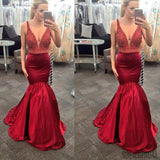 Sexy V-Neck Red Beaded Mermaid Satin Long Prom Dresses, PD0571