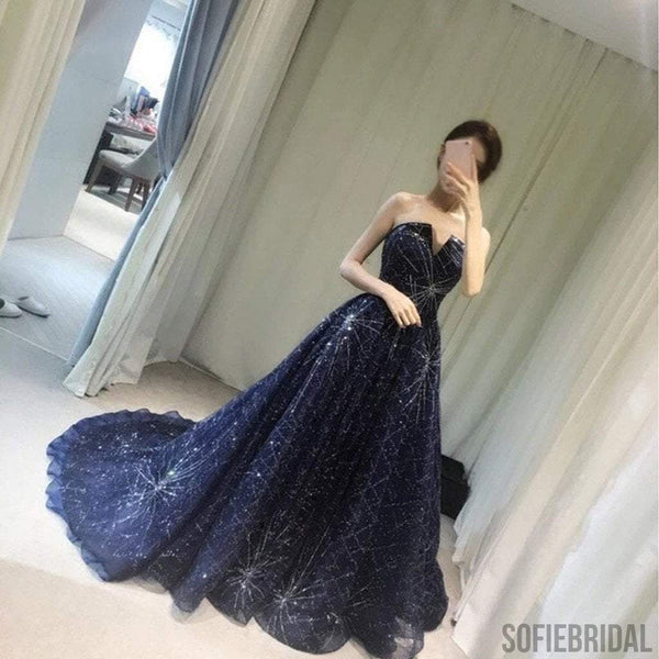 Elegant Sparkle Long A-line Ball Gown Navy Blue Tulle Rhinestone Prom Dresses, PD0528
