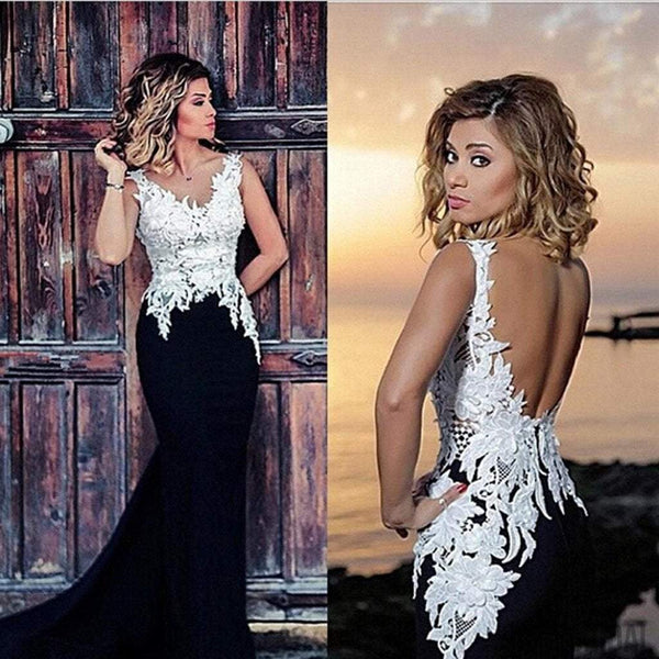 V-neck White Lace Top Black Satin Long Mermaid Sexy Backless Prom Dresses, PD0591