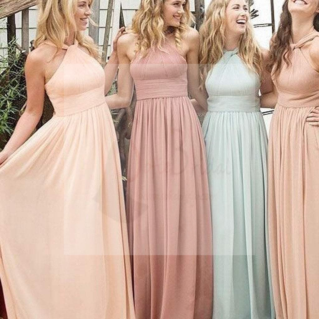 Simple Chiffon Hlater Floor-Length Cheap Free Custom Make High Quality Maxi Bridesmaid Dresses, WG28
