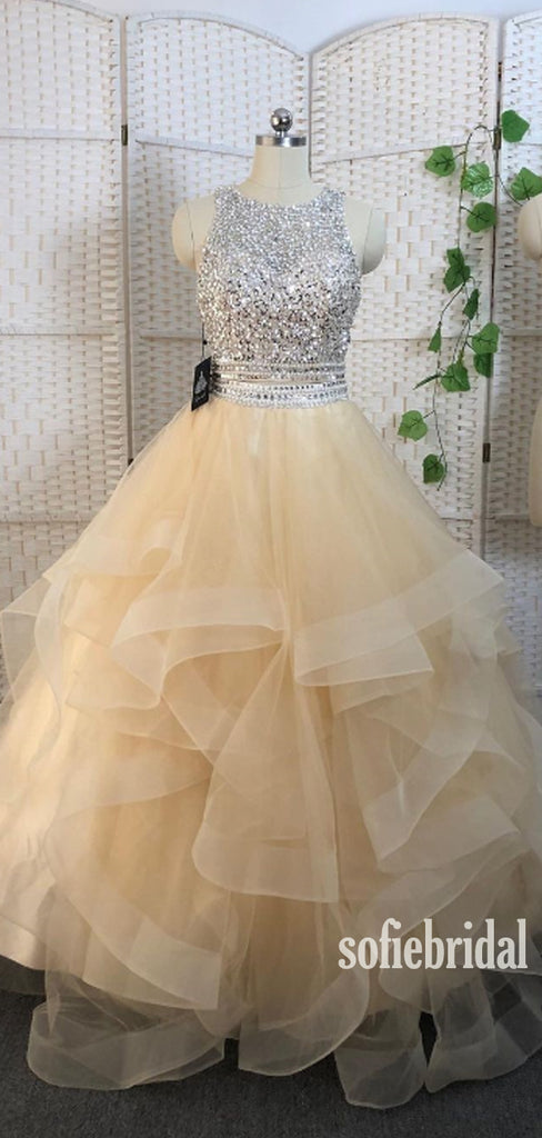 Simple Scoop Neck A-line Tulle Sequin Long Prom Dresses Online,SFPD0107