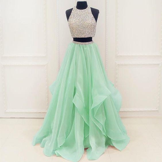 Two Pieces Rhinestone Top Mint Green Chiffon Long A-line Prom Dresses, PD0585