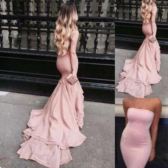 Simple Strapless Long Mermaid Pink Jersey Prom Dresses, PD0573
