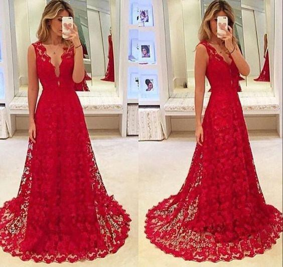 2017 V-neck Red Lace Sleeveless Long A-line Tulle Prom Dresses, PD0519