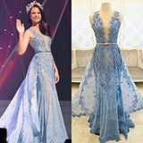 Blue Appliques Rhinestone Long Sheath Tulle Lace Prom Dresses, PD0521