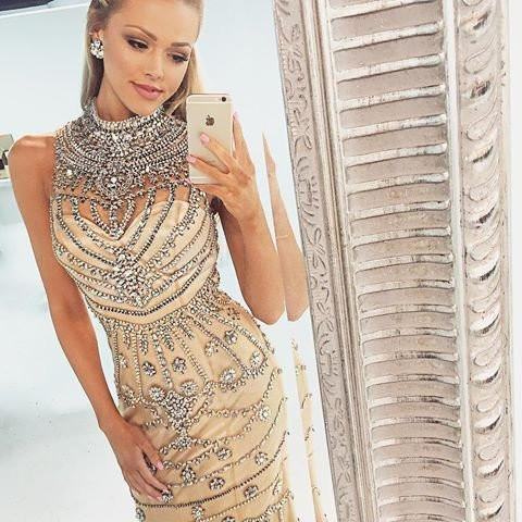 Gorgeous Rhinestone High Neck Long Sheath 2017 Prom Dresses, Popular Prom Dress, PD0234
