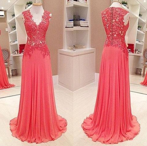 V-neck Lace Top Long A-line Chiffon Prom Formal Evening Dresses, PD0590
