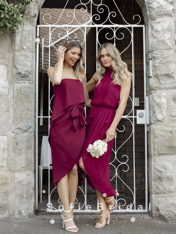 A-Line Mismatched Sleeveless Side Slit Chiffon Short Bridesmaid Dresses With Pleats,SFWG0027