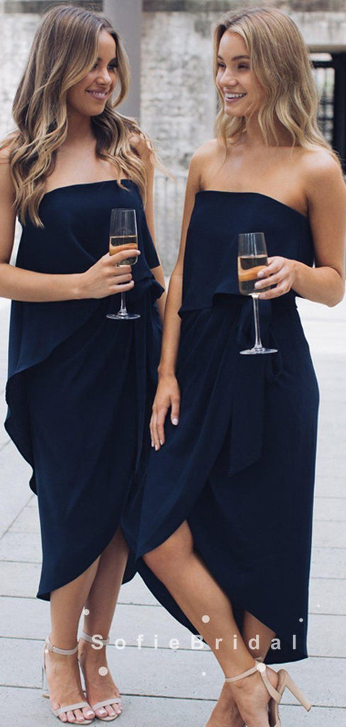 A-Line Strapless Dark Navy Side Slit Simple Short Bridesmaid Dresses,SFWG0028
