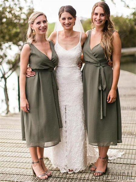 A-Line V-Neck Tea-Length Chiffon Bridesmaid Dresses With Belt, BD1056