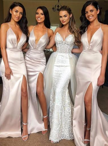 Blush Mermaid Bridesmaid Dresses, Side Slit Bridesmaid Dresses, Long Bridesmaid Dresses, PD0425