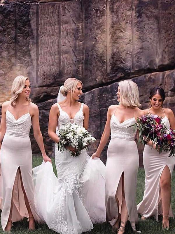 Mermaid Spaghetti Straps Sequins Long Bridesmaid Dresses With Split, BD1087