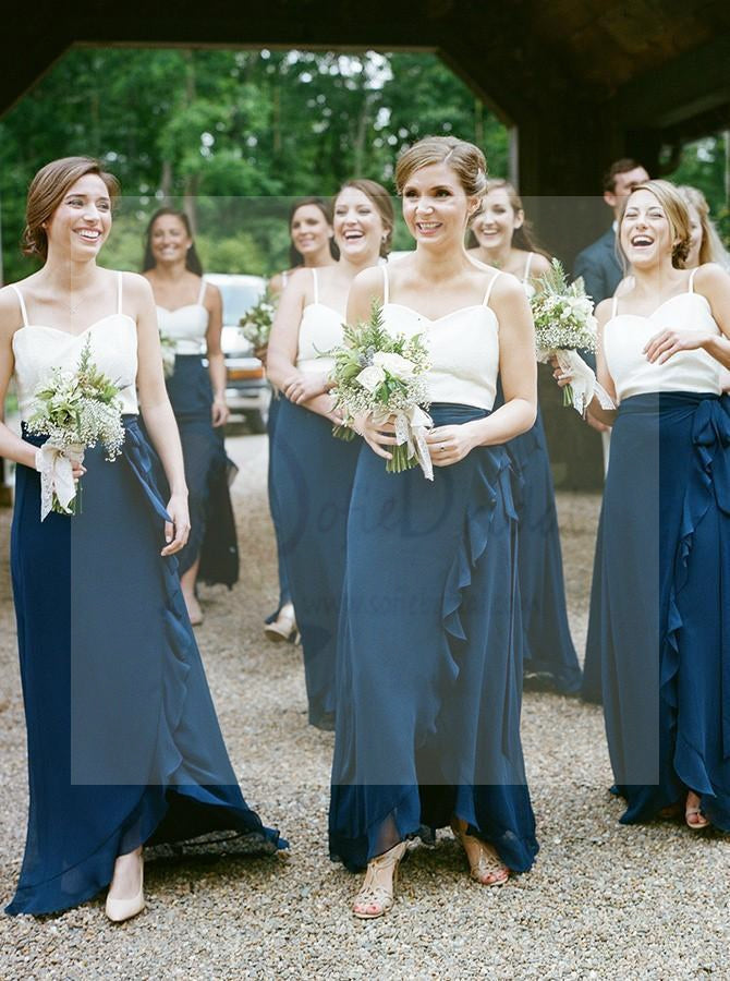 Spaghetti Top Bridesmaid Dresses,  Dark Teal Chiffon Bridesmaid Dresses, Cheap Bridesmaid Dresses, WG20
