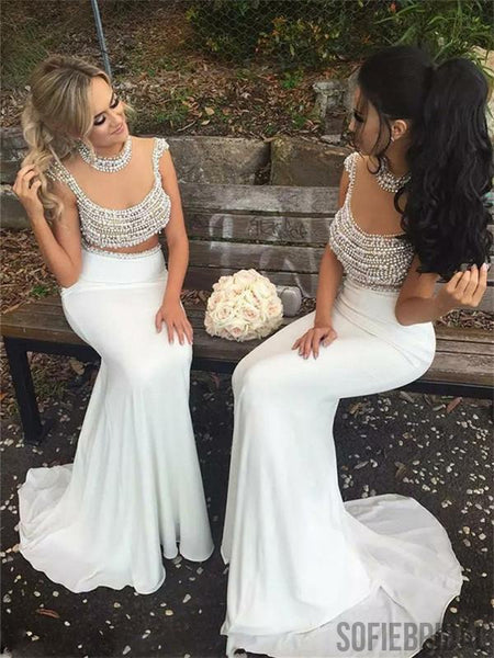 Two-pieces Round Neck Beading Top Long Mermaid Bridesmaid Dresses, BD1054